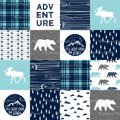 happy camper patchwork wholecloth  || navy and teal