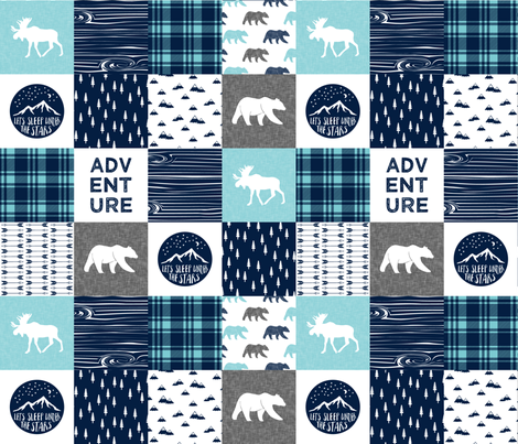 happy camper patchwork wholecloth  || navy and teal fabric by littlearrowdesign on Spoonflower - custom fabric