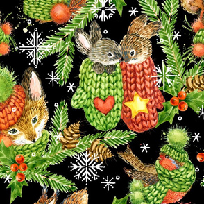 cute forest animals christmas background