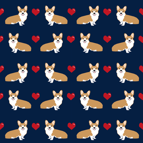corgi love fabric cute valentines love corgis design best corgi fabrics fabric by petfriendly on Spoonflower - custom fabric