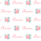 eleanor florals name fabric personalized fabric design personalised text font name fabric