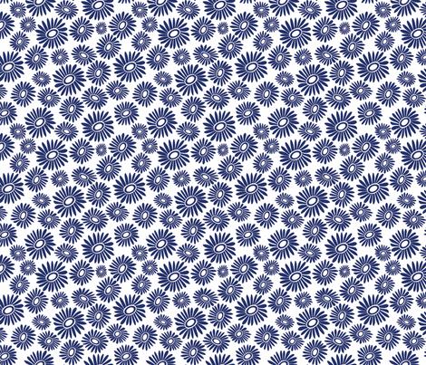Daisy Blue Toss Small - White fabric by kirstenkatz on Spoonflower - custom fabric