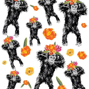 Chimpanzee and flowers