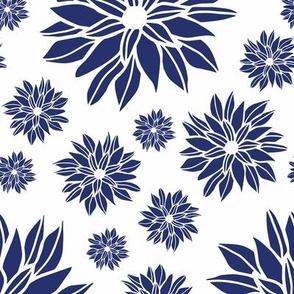 Daisy Flowers White & Blue Medium