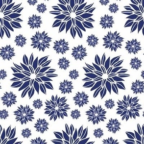 Daisy Flowers White & Blue Small