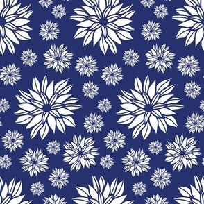 Daisy Flowers Blue & White small
