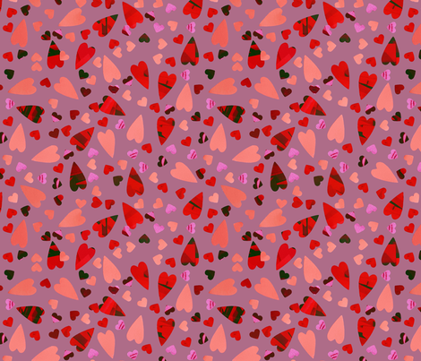 LOVE - Scattered Hearts - Lilac fabric by daintydora on Spoonflower - custom fabric