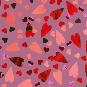 LOVE - Scattered Hearts - Lilac