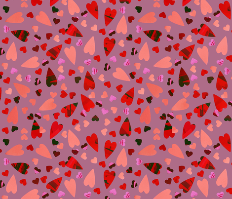 LOVE - Scattered Hearts fabric by daintydora on Spoonflower - custom fabric