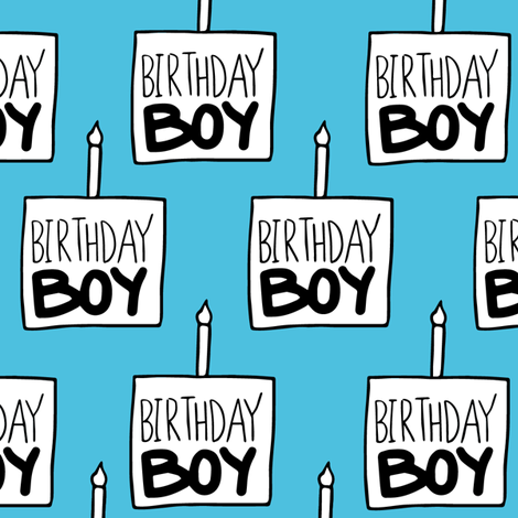 Birthday Boy in Blue - Large fabric by arrowandtheheart on Spoonflower - custom fabric
