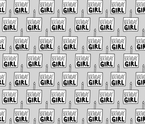 Birthday Girl in Grey fabric by arrowandtheheart on Spoonflower - custom fabric