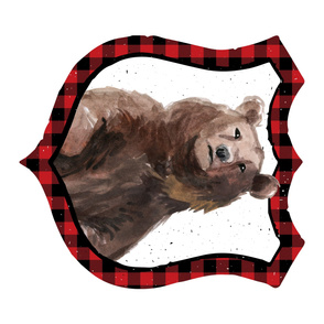 Bear in Plaid - 90 degrees - Red