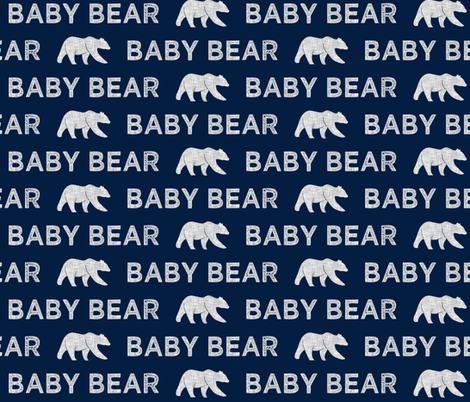 baby bear || grey on navy fabric by littlearrowdesign on Spoonflower - custom fabric