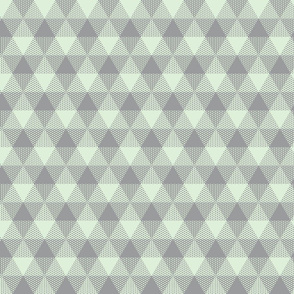 triangle gingham in grey and pale green