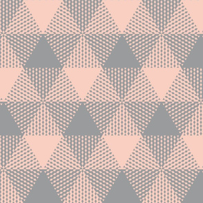 large triangle plaid - peach and grey