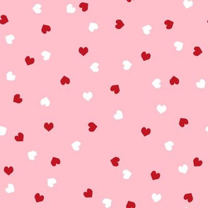 red and white scattered hearts cute valentines day hearts fabric