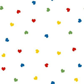 rainbow hearts cute multi hearts fabric random scattered heart design