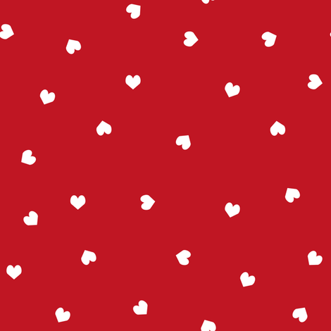 red and white scattered hearts red white valentines fabric fabric by charlottewinter on Spoonflower - custom fabric