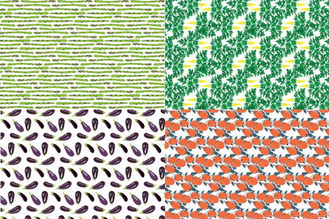 "17-02F 54""  Garden Vegetable Tea Towel Fat Quarters Tomato Carrot Eggplant Asparagus _Miss Chiff Designs fabric by misschiffdesigns on Spoonflower - custom fabric"