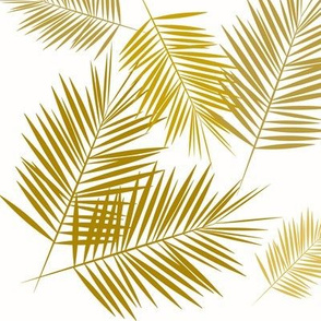 Palm leaves golden mustard tropical