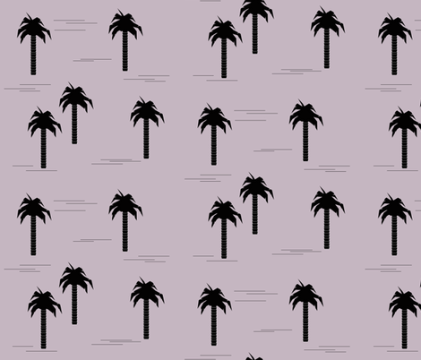palm tree - black on lavender tropical trees summer palm leaves fabric by sunny_afternoon on Spoonflower - custom fabric