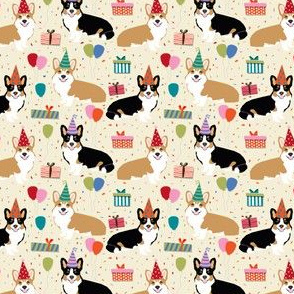 corgi birthday fabric cute presents balloons corgis fabric corgi design