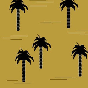 Palm trees - black on mustard yellow tropical trees || by sunny afternoon