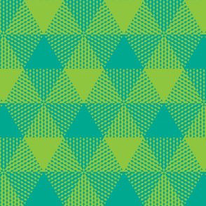 large triangle plaid - lime and aqua