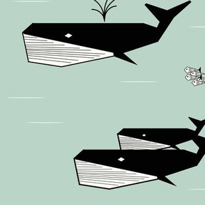 Whales - geometric whales mint black and white
