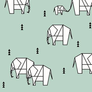 Geo elephants - mint elephants safari animals geometric black and white on mint