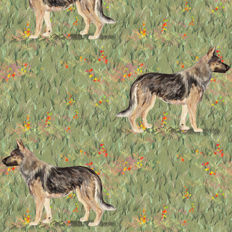 German Shepherd Dog in Wildflower Field red fabric by eclectic_house on Spoonflower - custom fabric