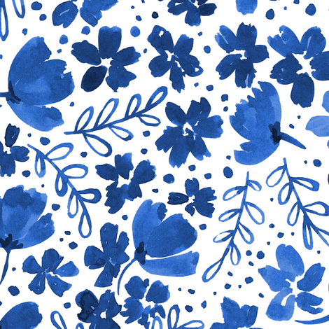 Love Blossoms Floral Pattern - Blue on Whtie fabric by kitcronk on Spoonflower - custom fabric