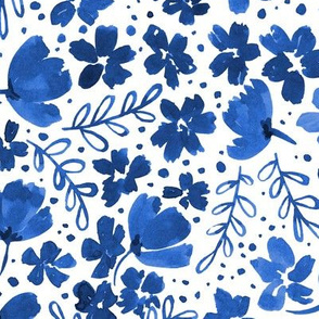 Love Blossoms Floral Pattern - Blue on Whtie