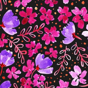 Love Blossoms Floral Pattern - Dark Grey