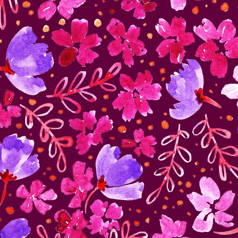 Love Blossoms Floral Pattern - Dark Pink fabric by kitcronk on Spoonflower - custom fabric