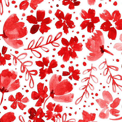 Love Blossoms Floral Pattern - Red on White fabric by kitcronk on Spoonflower - custom fabric