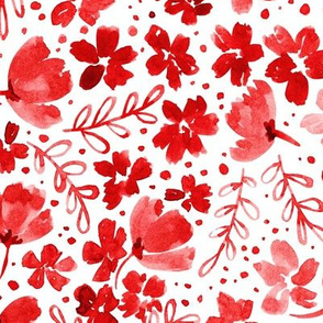 Love Blossoms Floral Pattern - Red on White