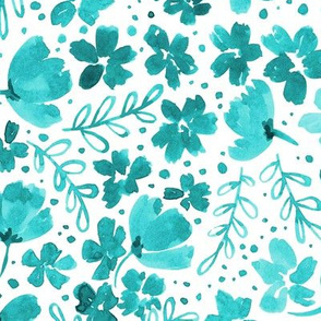 Love Blossoms Floral Pattern - Turquoise on White
