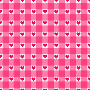 Gingham Hearts in pink