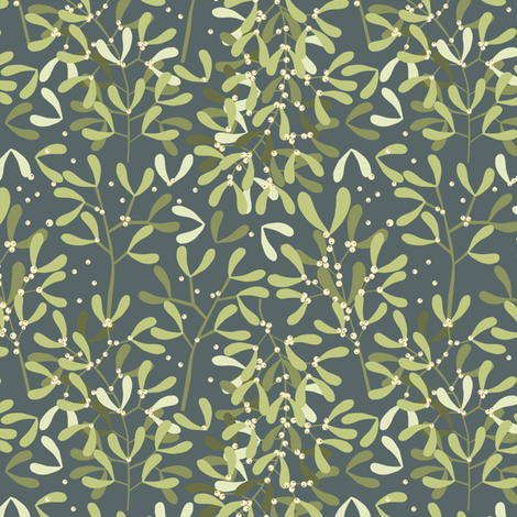 give_a_kiss_under_the_Mistletoe_nuit_M fabric by nadja_petremand on Spoonflower - custom fabric