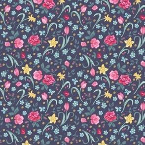 Spring Floral - Navy