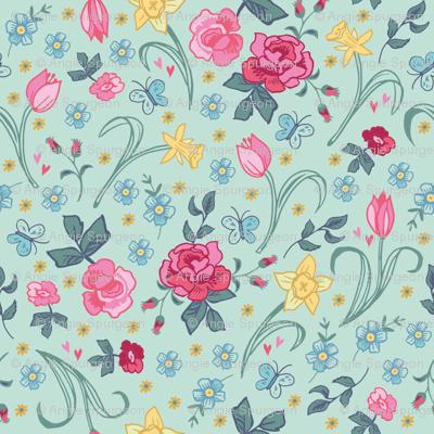 Spring Floral - Aqua
