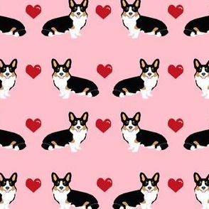 corgi love tri colored fabric corgi valentines fabric love hearts
