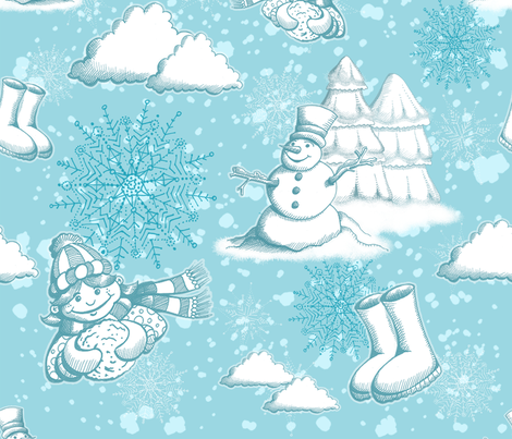 Fun in the Snow fabric by miraculousmosquito on Spoonflower - custom fabric