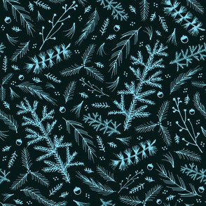 Forest Floor: Teal and Baby Blue