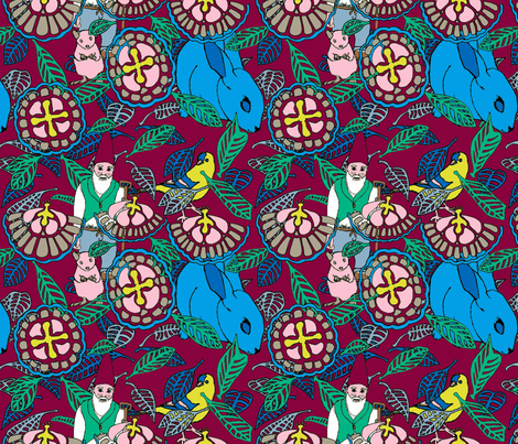 Gnome Guardian of the Garden on Wine fabric by bloomingwyldeiris on Spoonflower - custom fabric