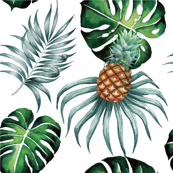Tropical Island Palms Pineapple Palm Leaves Watercolor