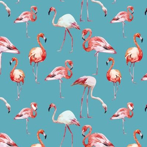 Tropical Island Pink Flamingos Watercolor-01