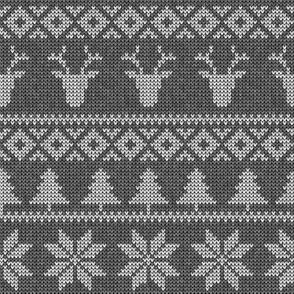fair isle deer (grey on grey) || snowflake