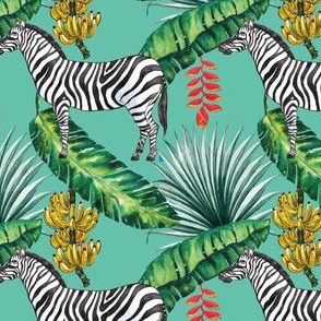 Tropical Island Palms Zebra Bananas Palm Leaves Watercolor